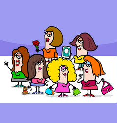 woman cartoon people characters group vector image vector image