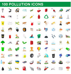 100 pollution icons set cartoon style vector