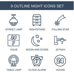 9 night icons vector
