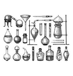 Alchemy laboratory equipment sketch magic vector