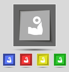 Arm muscle with dumbbell in hand icon sign on vector