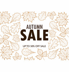 autumn sale poster with outline leaves vector image