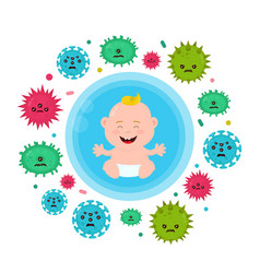 Bacterial microorganism in a circle vector