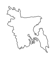 Bangladesh in world map vector images 75 bangladesh map of black contour curves on white vector gumiabroncs Gallery