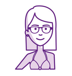 Beautiful and young woman with glasses vector