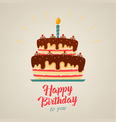 birthday poster with chocolate cake on background vector image