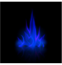 Blue fire flame bonfire isolated on background vector