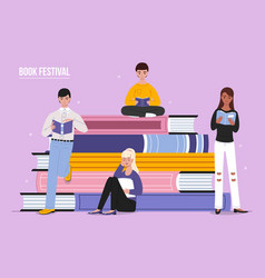 Book festival reading people vector