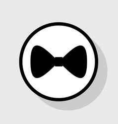bow tie icon flat black icon in white vector image