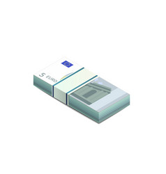 Bright five euro banknotes in stack in isometric vector