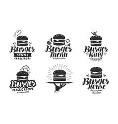 Burger fast food logo or icon emblem label vector