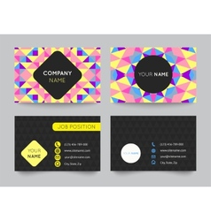 Business card template set abstract colorful vector image