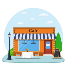 Cafe shop exterior vector