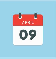 calendar day 9 april days year vector image