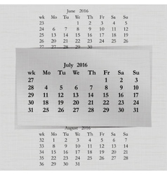 calendar month for 2016 pages July start Monday vector image