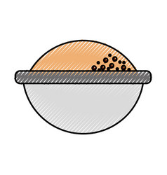 cartoon bowl with flour ingredient bakery and vector image