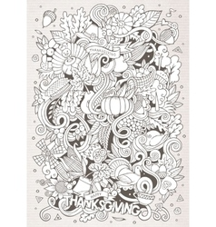 Cartoon hand-drawn Doodle Thanksgiving vector