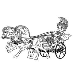 cartoon roman chariot outline vector image