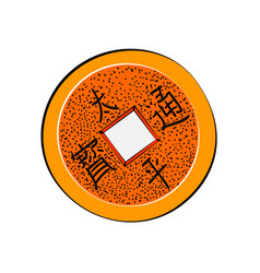 Chinese coin color sketch vector