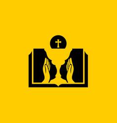 Christian symbols communion bread and chalice vector