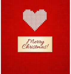 Christmas knitting background with heart vector image