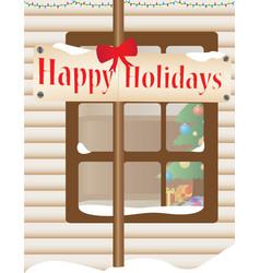 Christmas themed house outdoor vector