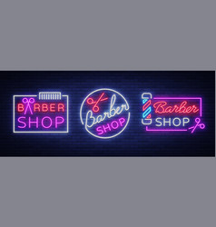 collection logos neon sign barber shop for vector image