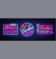 collection logos neon sign barber shop vector image