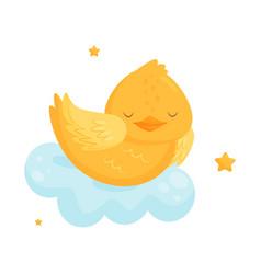 cute little chicken sleeping on a cloud lovely vector image