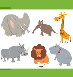 Cute safari animals set vector