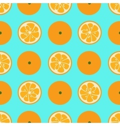 Cute seamless pattern with orange slices on blue vector
