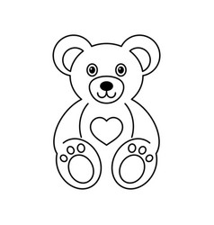 Cute teddy bear outline logo design vector