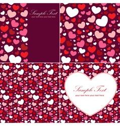Cute valentine heart set congratulation cards vector