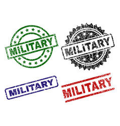 Damaged textured military stamp seals vector