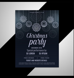 dark christmas decorative flyer design vector image