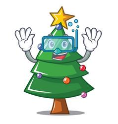 Diving christmas tree character cartoon vector