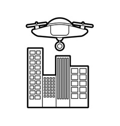 Drone flying technology with cityscape vector
