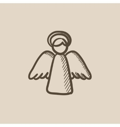 Easter angel sketch icon vector