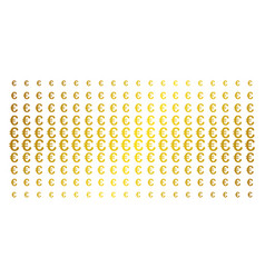 euro symbol gold halftone effect vector image