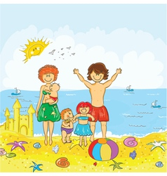 Family at the beach vector
