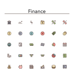 Finance Colored Line Icons vector image