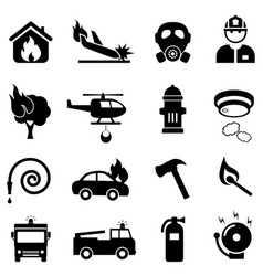 Fire fighting web icon set vector
