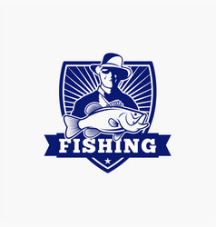 fishing fishing logo badge 1 vector image