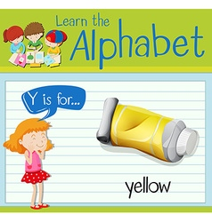 Flashcard alphabet Y is for yellow vector image