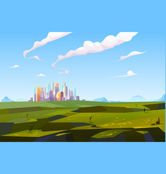 Futuristic city in green valley among mountains vector