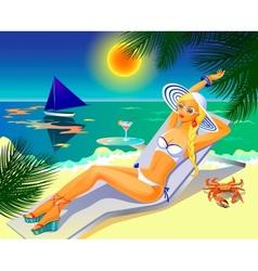girl on tropical beach vector image