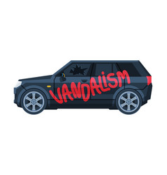 Graffiti vandalism word sprayed on car auto vector