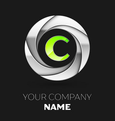 Green letter c logo symbol in the silver circle vector