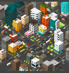 Isometric city cartoon town district vector