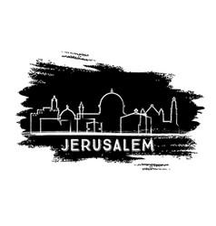 Jerusalem israel city skyline silhouette hand vector